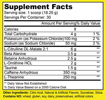 Winners Nutrition Preworkout Supplement Facts
