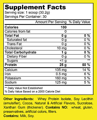 Winners Nutrition Whey Protein Isolate Supplement Facts